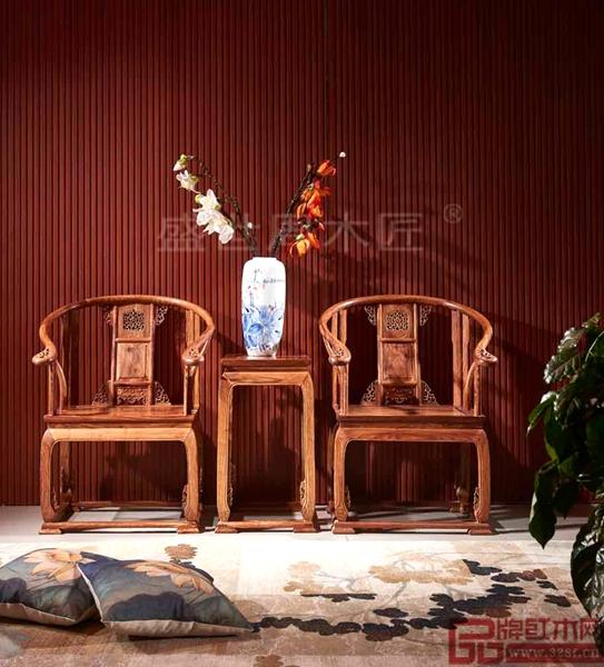 盛世周木匠经典传承红木家具刺猬紫檀《皇宫椅三件套》