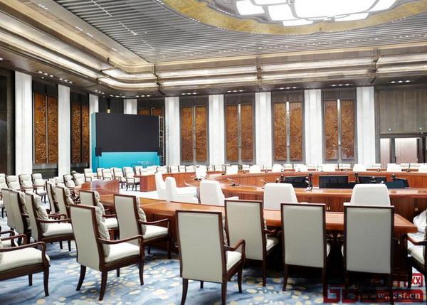 明堂红木为上合峰会主会场提供的红木主会议桌