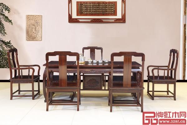 林木轩柬埔寨黑酸枝新品——《国色天香茶台6件套》