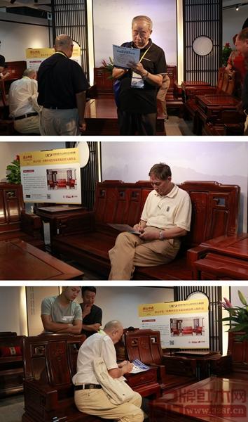 专家评审团现场为创辉红木送选作品《祥和沙发》评分