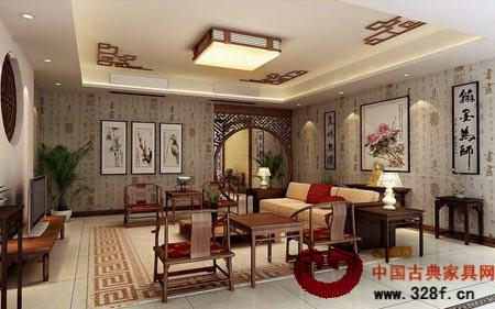 中式客厅装修效果图:许多人认为中式风格只要买些中式家具
