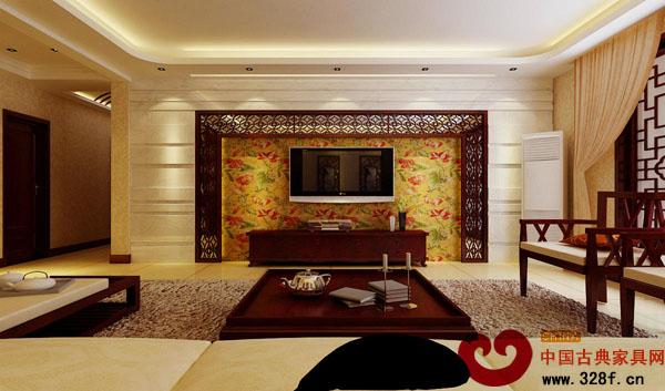 中式装修中电视背景墙的设计