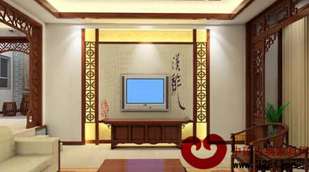 2013简单中式客厅电视背景墙效果图大全