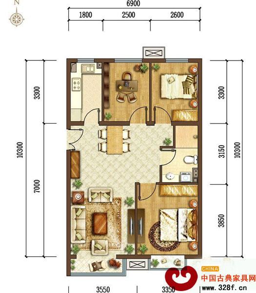95平米三居室中式装修设计高清图片