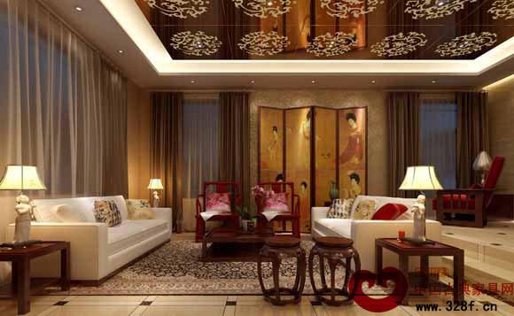 客厅红木家具的配饰一般采用绿植,中国结,字画,中式灯饰,屏风隔断