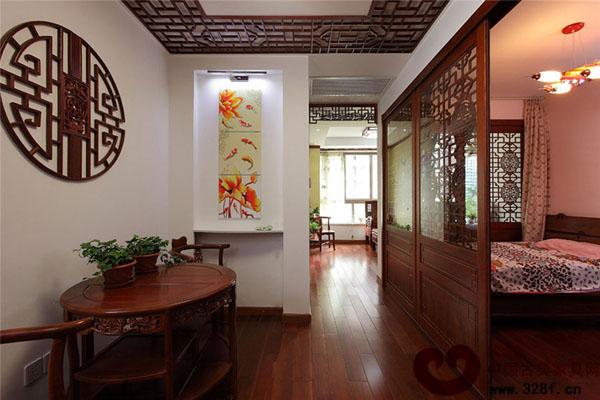 中式风格餐厅卧室隔断装修效果图