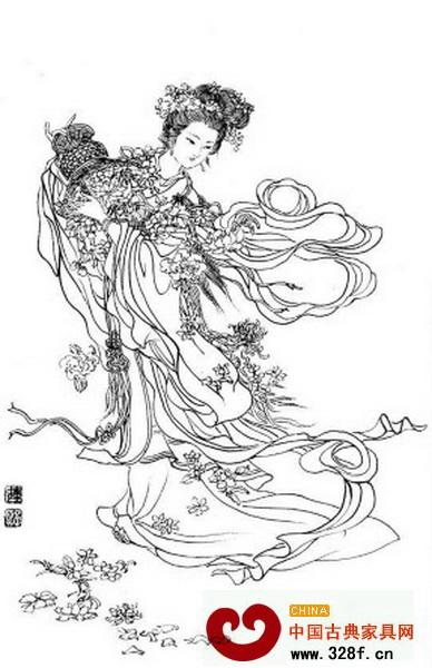 寓意春满人间木雕纹饰天女散花