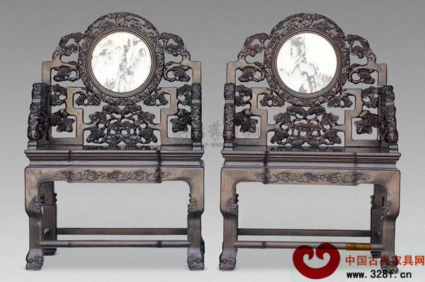 红木雕灵芝纹大理石太师椅(一对)