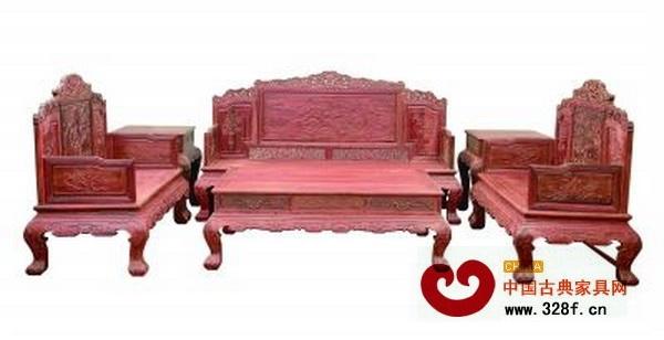 红酸枝岁寒三友六件套沙发