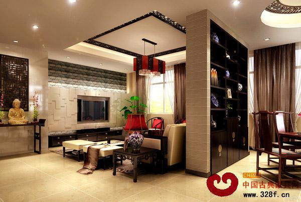 新中式别墅客厅装修效果图-品牌红木网