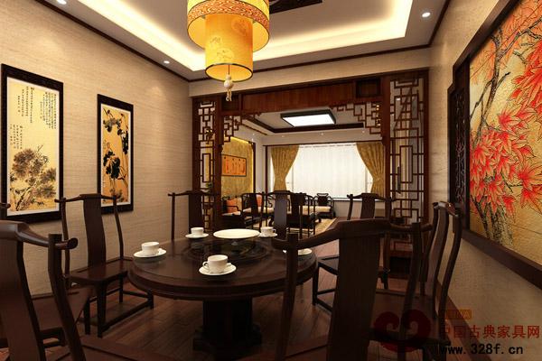 新中式风格别墅餐厅装修效果图-中国古典家具网图片