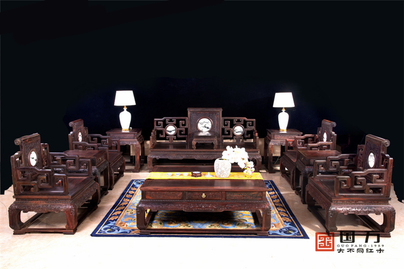 国方家居 中山大不同红木 老挝大红酸枝沙发(交趾黄檀) 客厅系列 高端红木家具 古典红木家具 红木沙
