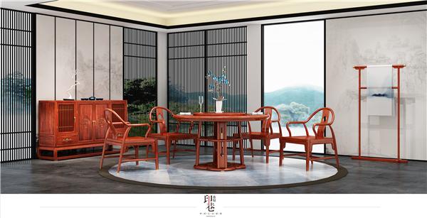 印巷森刻 黑檀 刺猬紫檀 赏梅园餐厅餐台 餐厅系列 新中式家具
