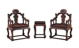 怀古小叶紫檀西番莲纹扶手椅