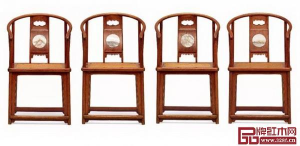 清早期黄花梨镶大理石圈椅四只以2702.5万元成交