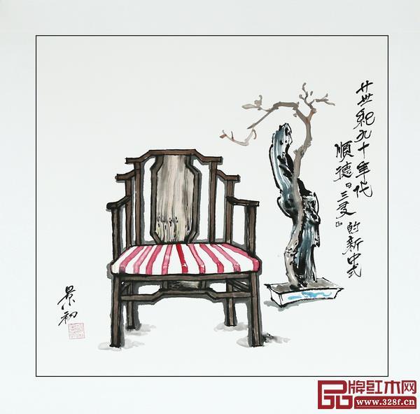 胡景初新中式家具书画作品——顺德三友新中式家具
