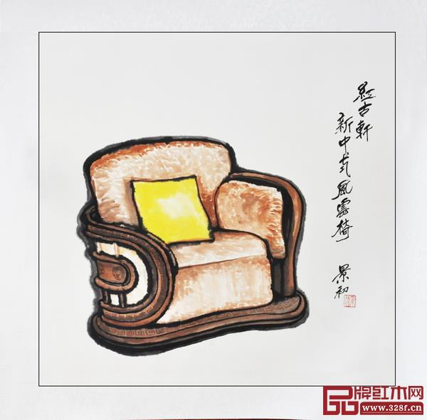 胡景初新中式家具书画作品——中山红古轩《风云椅》