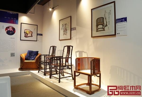 景初新中式家具书画展暨经典作品展将水墨书画与与实物作品重合投影出新中式家具之美