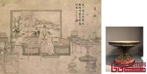 出现在乾隆《是一是二图》的朱漆描金花卉纹葵花式桌
