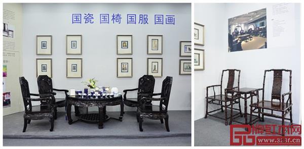 深圳泰和园的丝翎檀雕作品《松鹤延年茶台》、《当代君子竹节椅》亮相深圳市龙华区展馆