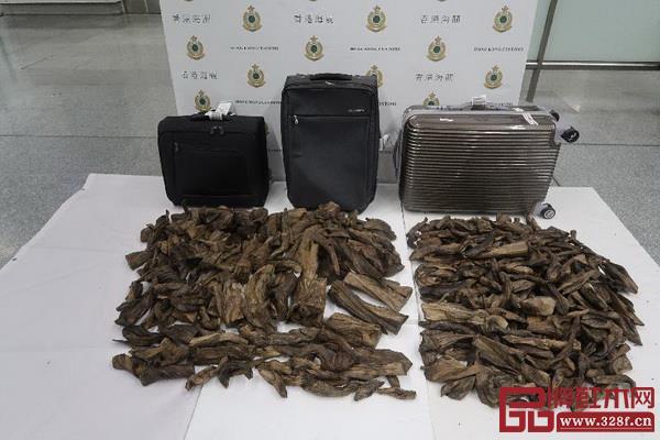 香港海关发现的怀疑沉香木木材(图片来源:香港海关)