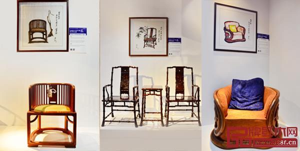 由左至右分别为国寿红木《国寿椅》、泰和园《当代君子竹节椅》、红古轩《风云沙发》