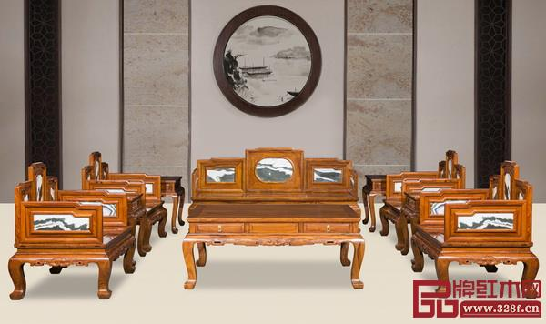 中山市宝御堂红木家具艺术馆 名称:《五屏式嵌云石套装》