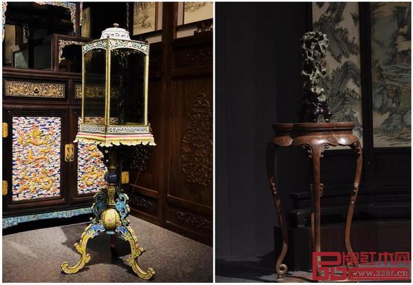 画珐琅立灯(左),填漆戗金云龙纹海棠式几(右)