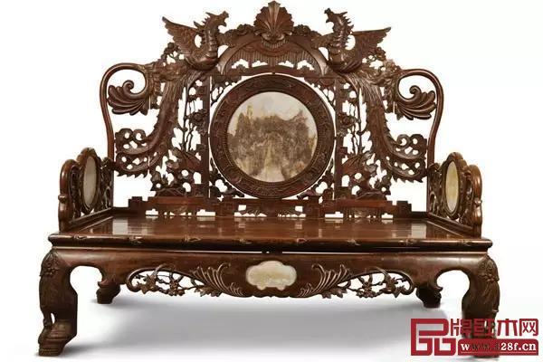 民国 红木雕花罗汉床