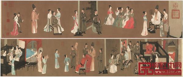 手卷画《韩熙载夜宴图》中,屏风多以竖立侧面出现,所有屏风都是为了分开和连起一幕幕场景
