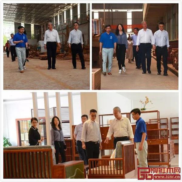 刘金良副理事长、王克会长等一行参观了森木家具工厂展厅和生产车间