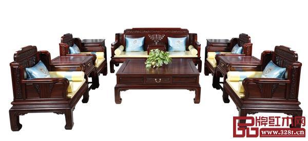 恒达木业柬埔寨黑酸枝——水墨山水6号沙发
