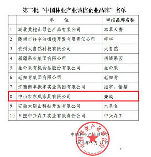 """东成红木荣获""""中国林业产业诚信企业品牌""""称号"""