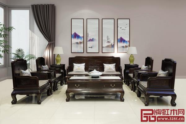 林木轩柬埔寨黑酸枝——《荷韵沙发11件套》