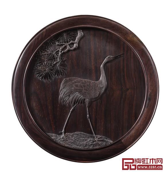 《松鹤延年茶台·椅》靠背局部特写