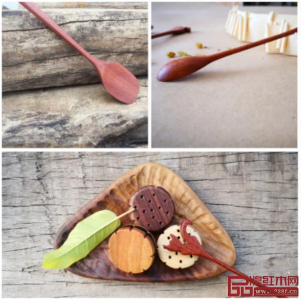 木作铲子(左上),勺子(右上),坚果盒(下)