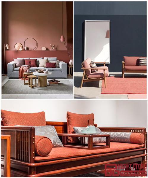 活珊瑚橘运用在家居行业可以瞬间给人温暖快乐,名作新中式家具《雅韵罗汉床》(下图)使用活珊瑚橘让人舒适轻快