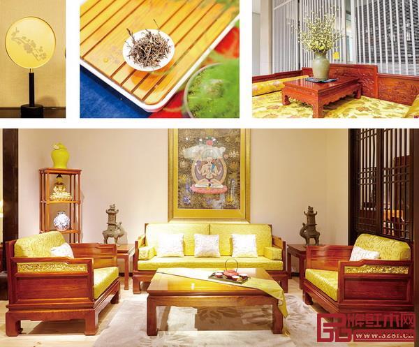 古人将黄色视作尊贵之色,戴为红木在家居配色中使用黄色更能够散发出东方意韵