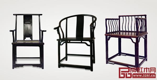 清代明式家具(苏作),鸂鶒(左)、紫檀(中)、红酸枝扶手椅(右)三例