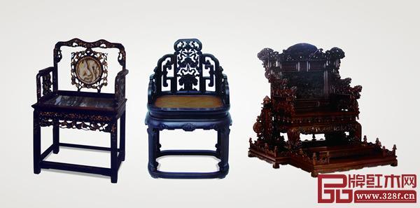 清代广式家具红酸枝扶手椅(左)、清代京式家具紫檀木扶手椅(中),红木雕龙椅宝座(右)