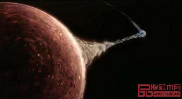 《流浪地球》中地球与木星画面