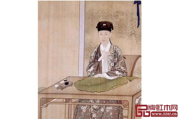 清人绘《乾隆帝古装像》中,装扮成普通青年汉族文人的乾隆