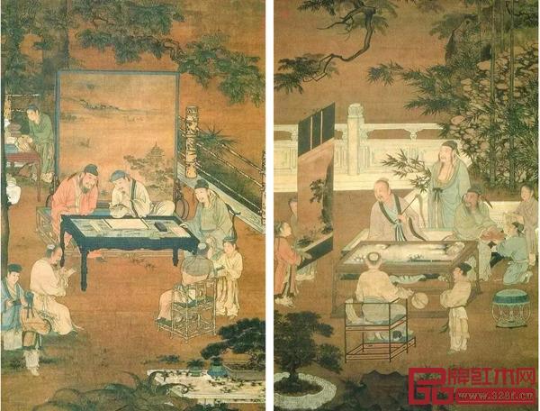 《明人画十八学士图》中书(左)、画场景