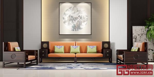 雍博堂红木黑酸枝新中式《和润沙发》