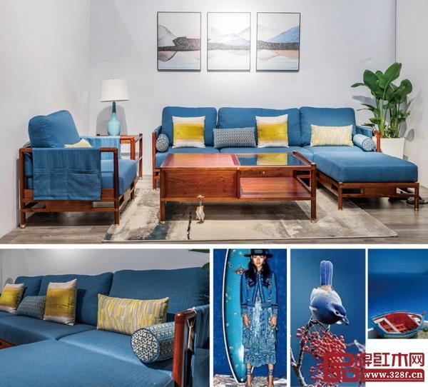 名作新中式家具在配色上使用了大面积的湖水蓝,让人耳目一新,更容易营造清新春日气息