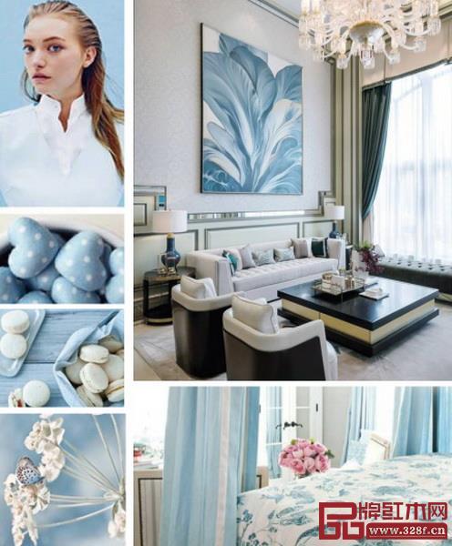 春夏季节的家居颜色要清爽、简洁,对窗帘、沙发、床品等大面积的位置进行配色的更换,使用天蓝色联想到青空白云,令人身心放松