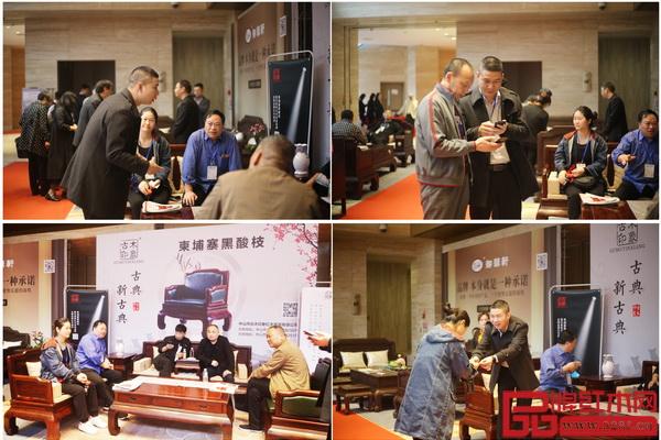 活动现场,古木印象柬埔寨黑酸枝新品备受经销商关注和好评