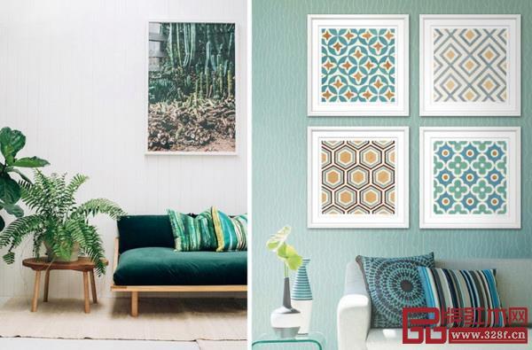 使用色彩明亮又富有生机的挂画装饰墙面,家中无处不充满春天的气息