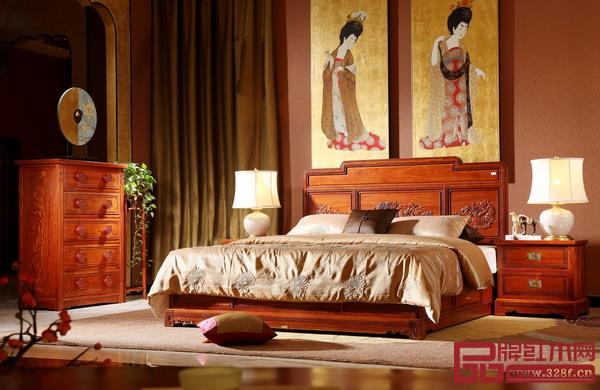 国寿红木《如意大床三件套》