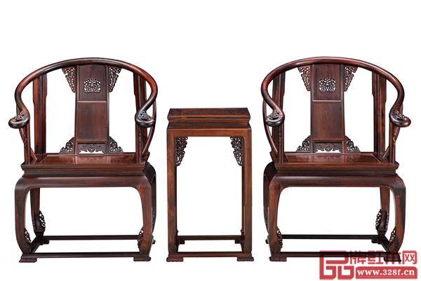 南枝红《大红酸枝皇宫椅三件套》